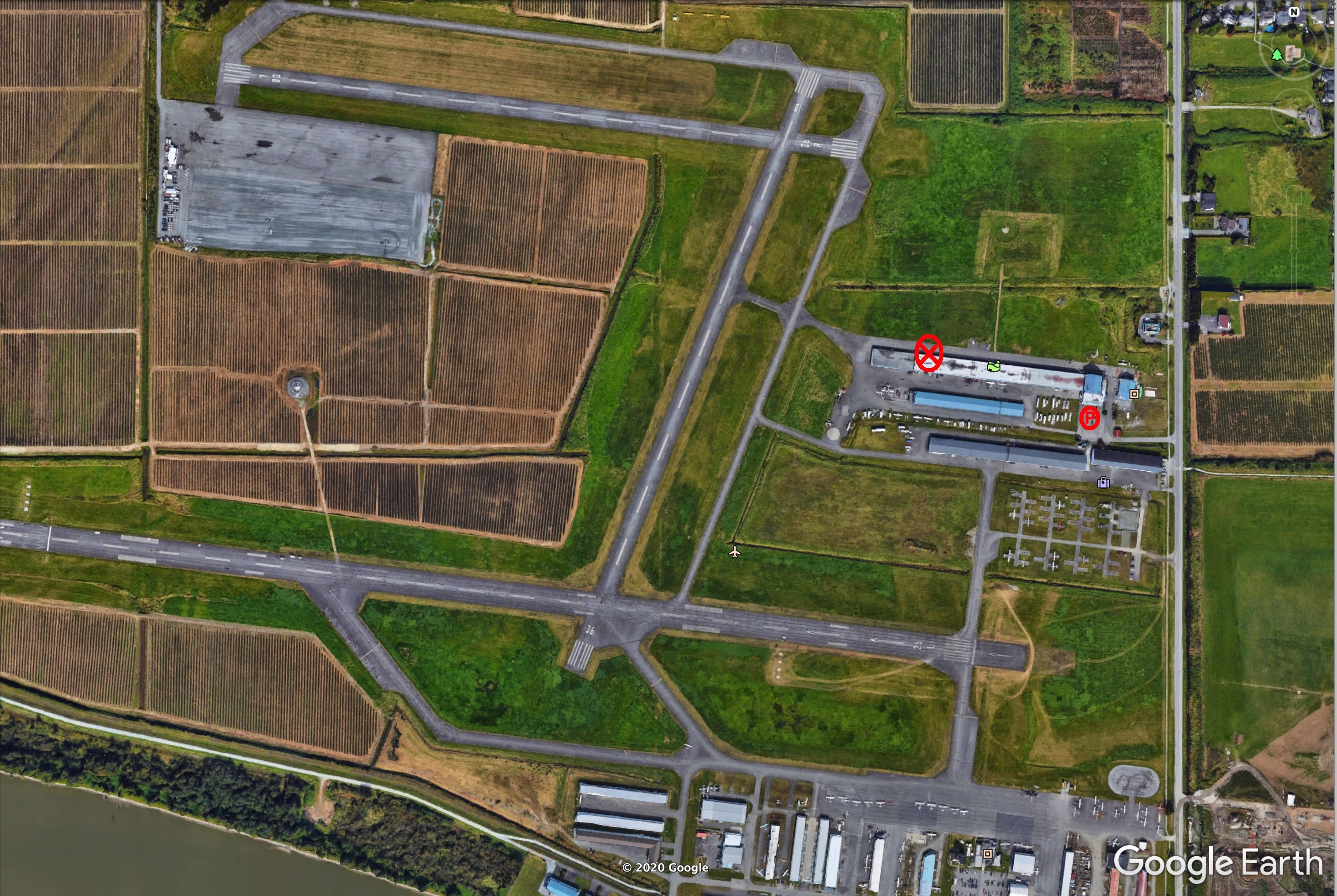 Satellite GoogleEarth Image of Silverwing Aviation Hangar